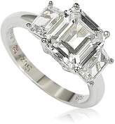 Suzy Levian Jewelry Sterling Silver Emerald-Cut 3-Stone CZ Bridal Ring