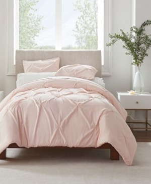 Serta Simply Clean Antimicrobial Pleated King Duvet Set,3 Piece Bedding