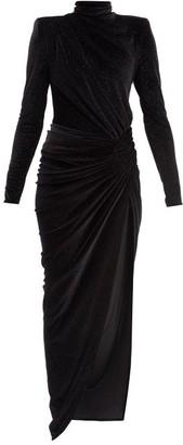 Alexandre Vauthier Gathered Glitter-velvet Maxi Dress - Black