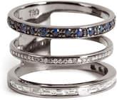 Nikos Koulis 18kt Blackened Gold Ring with Sapphires and White Diamonds