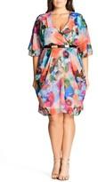 City Chic Plus Size Women's Floral Print Faux Wrap Dress