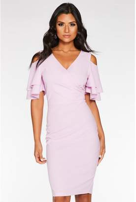 Quiz Lilac Wrap Front Cold Shoulder Dress