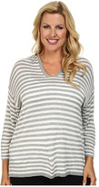 Calvin Klein Plus Plus Size Striped Hood Sweater