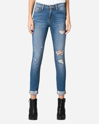 Express Flying Monkey Mid Rise Distressed Skinny Ankle Jeans