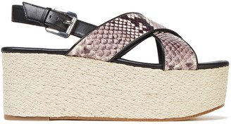 MICHAEL Michael Kors Snake-effect Leather Platform Espadrille Sandals