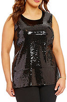 Vince Camuto Plus Sequin Sleeveless Top