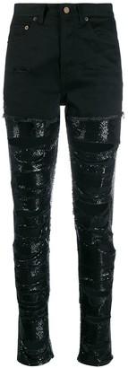 Saint Laurent sequin-embellished ripped jeans