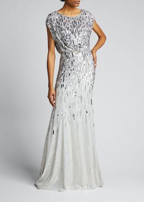 Jenny Packham Cap-Sleeve Embellished Gown