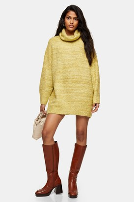 Topshop Green Oversized Roll Neck Knitted Sweater Dress