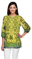 Liz Claiborne New York Border Print 3/4 Sleeve Lined Tunic