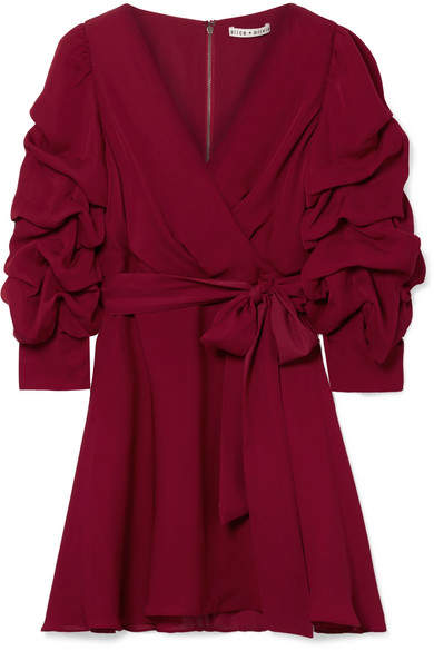 Alice + Olivia Alice Olivia - Santina Ruched Wrap-effect Silk Crepe De Chine Mini Dress - Burgundy