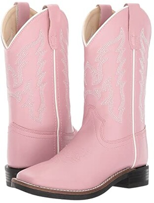 Old West Kids Boots Square Toe Leatherette (Toddler/Little Kid) (Pink) Cowboy Boots