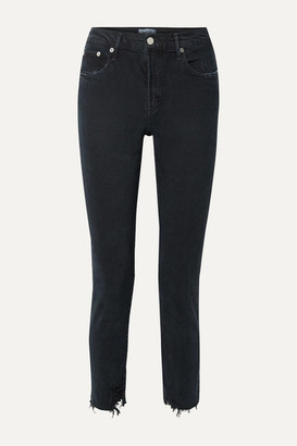 AGOLDE Toni Distressed Mid-rise Straight-leg Jeans - Black