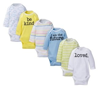 Onesies Brand Baby Boy or Girl Gender Neutral Long Sleeve Bodysuits Set, 6-Pack