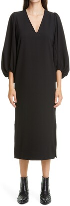 Ganni Balloon Sleeve Crepe Dress