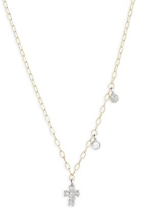 Meira T Diamond Cross Pendant Necklace