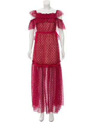 Self-Portrait Lace-Trimmed Maxi Dress Red