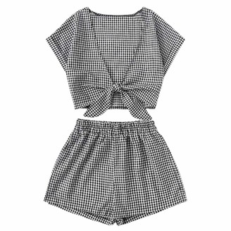 Maheegu Suit Fashion Two Piece Set Women Plaid Printed Short Sleeve Bandage V-Neck Bow Blouse + Shorts Hot Pants Set Casual Outfit (Black XL)