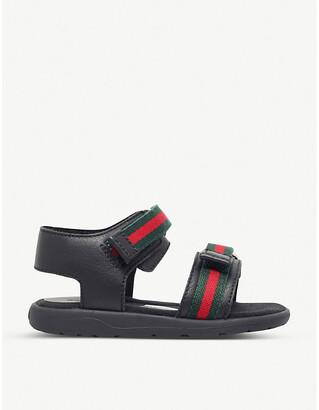 Gucci Girls Black Gauffrette Leather Sandals, Size: EUR 29 / 11 UK KIDS