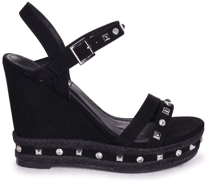 0bace3a0226 Linzi CARMEN - Black Suede Wedge With Mixed Studded Diamante Detail With  Rope Trim