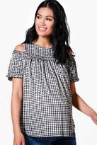 boohoo Maternity Maria Gingham Cold Shoulder Ruffle Top