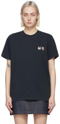 MAISON KITSUNÉ Black Double Fox Head T-Shirt