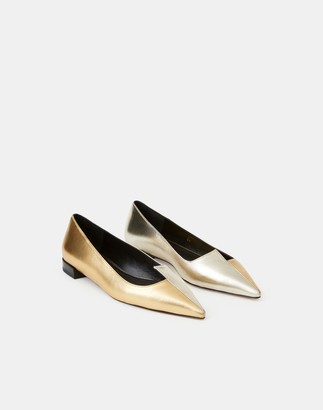 Lafayette 148 New York Metallic Leather Mica Asymmetric Flat