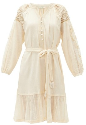 Mes Demoiselles Colombine Belted Crinkled-gauze Dress - Cream