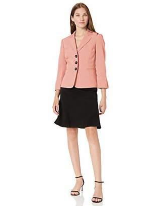 Le Suit Women's Petite Stretch Crepe 3 Button Notch Collar Skirt Suit
