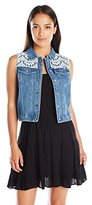NY Collection Women's Petite Sleeveless Denim Vest with Fringe Armhole and Lace and Front Yoke
