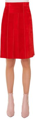 Akris Punto Side-Zip Suede Paneled A-Line Knee-Length Skirt
