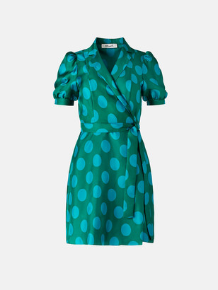 Diane von Furstenberg Maisie Silk-Twill Mini Wrap Dress