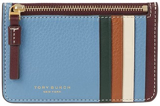Tory Burch Perry Color-Block Top Zip Card Case (Light Umber/Blue Yonder) Credit card Wallet