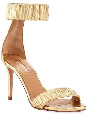 Aquazzura Liberty Mid-Heel Metallic Napa Ankle-Wrap Sandal