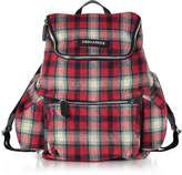DSQUARED2 Red Checked Wool Blend Men's Backpack