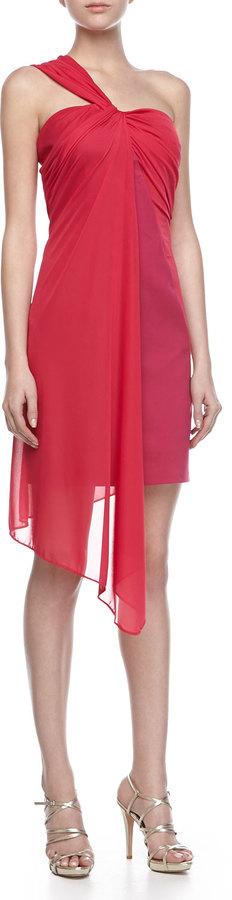Halston Ponte Dress with Draped Overlay, Raspberry
