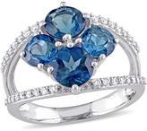 Julianna B 3 2/5 CT TW London Blue Topaz 14K White Gold Fashion Ring with Diamond Accents