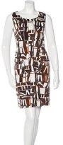 Oscar de la Renta Geometric Print Sleeveless Dress