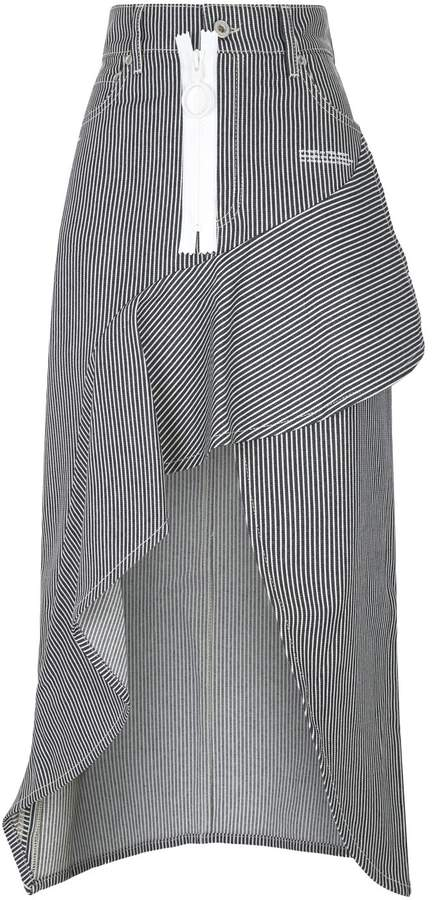 Off-White Off White Denim Stripe Ruffle Skirt