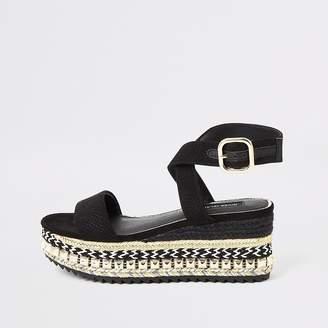 River Island Black studded wedge flatform sandals