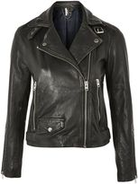 Topshop TALL Black Leather Biker Jacket