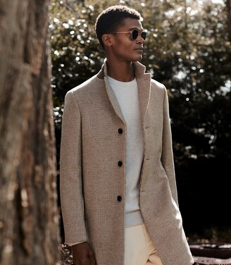 Reiss Barbera - Wool Blend Checked Overcoat in Oatmeal Check