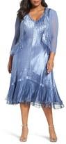 Komarov Plus Size Women's Mixed Media A-Line Dress & Jacket