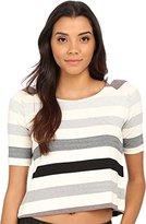 Three Dots Women's Cameron Stripe Short Sleeve Top