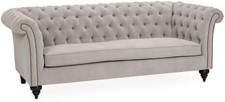 Kim Salmela Hawkins Chesterfield Sofa - Light Gray Velvet frame, espresso; upholstery, light gray