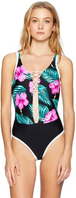 Body Glove Women's Mey Deep V Neck One Piece Swimsuit with Strappy Front