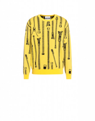 Moschino All Over Zip Wool Pullover Man Yellow Size 46 It - (36 Us)
