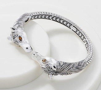 JAI Sterling Silver Double Head Horse Cuff, 40.0g