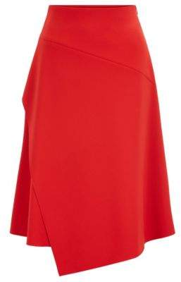 BOSS Regular-fit high-waisted skirt with layered front