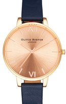 Olivia Burton Women's Big Dial Leather Strap Watch, 38Mm